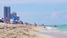 Miami summer day weekend crowded beach 4k florida usa. Usa miami summer day weekend crowded beach 4k florida stock video