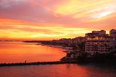 Miami Sunset. Dramatic sunset colours over Miami (Florida Royalty Free Stock Photos