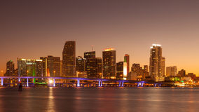 Miami at Sunset. Miami skyline at sunset, seen from Watson Island Royalty Free Stock Images