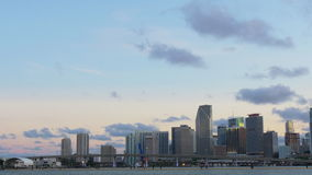 Miami sunset sky famous buildings downtown panorama 4k usa. Usa miami sunset sky famous buildings downtown panorama 4k stock video footage