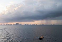 Miami Sunset Skyline Stock Photos