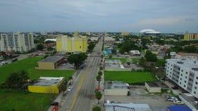 Miami 8th Street. Aerial video of Miami 8th Street calle ocho stock video