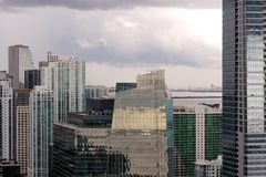Miami Towers under Clouds Stock Photos