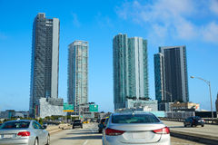 Miami traffic driving to Miami beach Florida Royalty Free Stock Photography