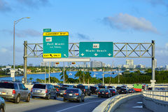 Miami traffic driving to Miami beach Florida Royalty Free Stock Photos