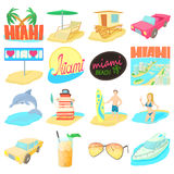 Miami travel icons set, cartoon style. Miami itravel icons set. Cartoon illustration of 16 Miami travel vector icons for web Stock Photography