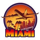 Miami travel label. Designed travel label, Miami city Stock Images