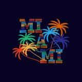 Miami-Typografieplakat Konzept in der Weinleseart für Druck stock abbildung