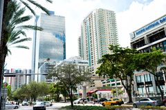 Miami, U.S.A. - 30 ottobre 2015: centro finanziario con le alte automobili delle costruzioni e palme nel distretto aziendale Prop Fotografia Stock