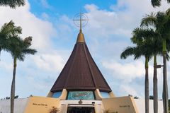 Miami, United States: Ermita of Our Lady of Charity. Our Lady of Charity Spanish: La Ermita de la Caridad, exterior architectural details. The temple is located Stock Photo