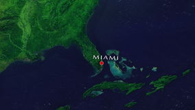 Miami - United States Zoom In From Space. Zoom to geographic earth from space 4K Resolution animation stock footage