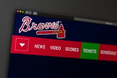 Baseball team Atlanta Braves website homepage. Close up of team logo. Miami / USA - 04.20.2019: Baseball team Atlanta Braves website homepage. Close up of team stock image