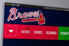 Baseball team Atlanta Braves website homepage. Close up of team logo. Miami / USA - 04.20.2019: Baseball team Atlanta Braves website homepage. Close up of team royalty free stock image