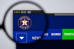 Baseball team Houston Astros website homepage. Close up of team logo. Miami / USA - 04.20.2019: Baseball team Houston Astros website homepage. Close up of team stock photography