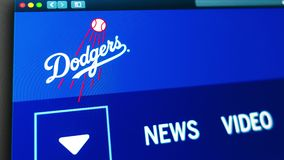 Baseball team Los Angeles Dodgers website homepage. Close up of team logo. stock illustration
