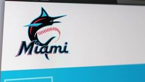 Baseball team Miami Marlins website homepage. Close up of team logo. Miami / USA - 04.20.2019: Baseball team Miami Marlins website homepage. Close up of team stock video footage