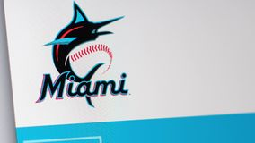 Baseball team Miami Marlins website homepage. Close up of team logo. royalty free illustration