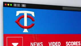 Baseball team Minnesota Twins website homepage. Close up of team logo. vector illustration