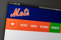 Baseball team New York Mets website homepage. Close up of team logo. Miami / USA - 04.20.2019: Baseball team New York Mets website homepage. Close up of team royalty free stock image