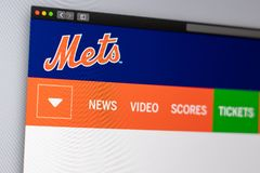 Baseball team New York Mets website homepage. Close up of team logo. Miami / USA - 04.20.2019: Baseball team New York Mets website homepage. Close up of team royalty free stock photography
