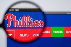 Baseball team Philadelphia Phillies website homepage. Close up of team logo. Miami / USA - 04.20.2019: Baseball team Philadelphia Phillies website homepage stock photos