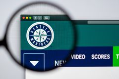 Baseball team Seattle Mariners website homepage. Close up of team logo. Miami / USA - 04.20.2019: Baseball team Seattle Mariners website homepage. Close up of royalty free stock images