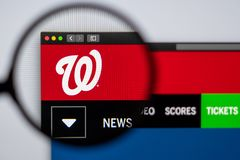 Baseball team Washington Nationals website homepage. Close up of team logo. Miami / USA - 04.20.2019: Baseball team Washington Nationals website homepage. Close royalty free stock image