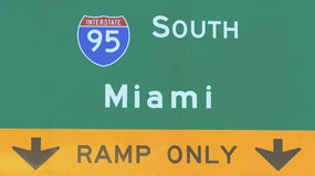 Miami USA Interstate Highway Sign Stock Image