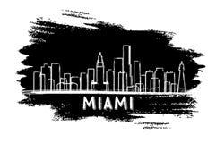 Miami usa linii horyzontu sylwetka Ręka rysujący nakreślenie royalty ilustracja