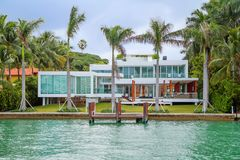Miami, USA, Luxurious mansion on the waterfront of Miami beach. Miami is one of the most popular resorts in Florida Royalty Free Stock Images