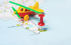 Miami  USA map flight Stock Photography