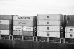 Miami, USA - March, 18, 2016: cargo containers stacked in port. Container port or terminal. Freight, shipping, delivery. Logistics merchandise Storage warehouse royalty free stock image