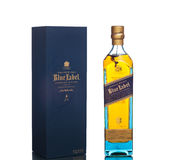 MIAMI USA - mars 14, 2015: Flaska av Johnnie Walker Blue Label Arkivbilder