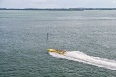 Miami, USA - November 22, 2015: speedboat move fast on sea water. Speed, extreme, energy, power. Boat, vessel, transport. Wanderlu. Miami, USA - November 22 royalty free stock photos
