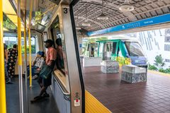Free MIAMI, USA - September 10, 2019: Metro Mover Train On The Station In Downtown Miami. Metro Mover Is A Free Automatic Stock Photo - 161000480