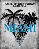 Miami - Vektorillustrationskonzept in der grafischen Art der Weinlese für Lizenzfreie Stockfotos