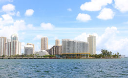 Miami view along Biscayne Bay from Brickell Key. Stock Images