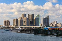 Miami view of sky scrappers and the bridge. Miami - View 3  from Cruise Ship Port Terminal. View of sky scrappers with a blue sky with clouds. Miami bridge on Royalty Free Stock Image