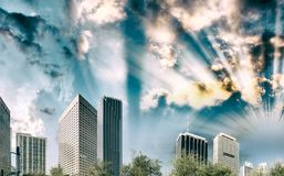 Miami W centrum budynki przy zmierzchem od Bayfront parka Obrazy Royalty Free