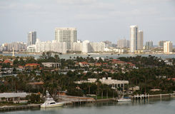 Miami by the Water. Miami Skyline Waterway stock images