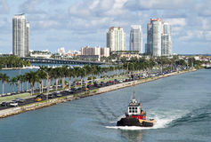 Miami Water And Road Traffic Royalty Free Stock Photos