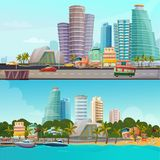 Miami Waterfront Cartoon Banners Set. Miami waterfront houses skyline 2 retro cartoon banners set with famous city landmarks towers isolated vector illustration Royalty Free Stock Photography