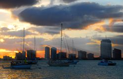 Miami waterfront by sunset Stock Photo