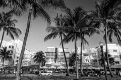 Miami Wyrzucać na brzeg, Floryda przy zmierzchem na oceanie hotele, i restauracje Obrazy Royalty Free