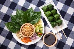 Miang西康省或美味叶子套 免版税库存照片