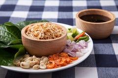 Miang西康省或美味叶子套 免版税库存图片