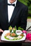 Miang西康省,泰国传统开胃菜盘 图库摄影