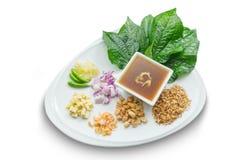 Miang西康省(美味叶子套)泰国食物 免版税图库摄影
