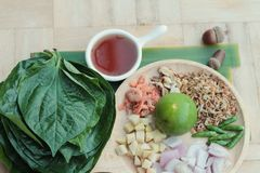 Miang Kham -  leaf wrap appetizer is delicious. Royalty Free Stock Images