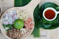Miang Kham -  leaf wrap appetizer is delicious. Royalty Free Stock Photography